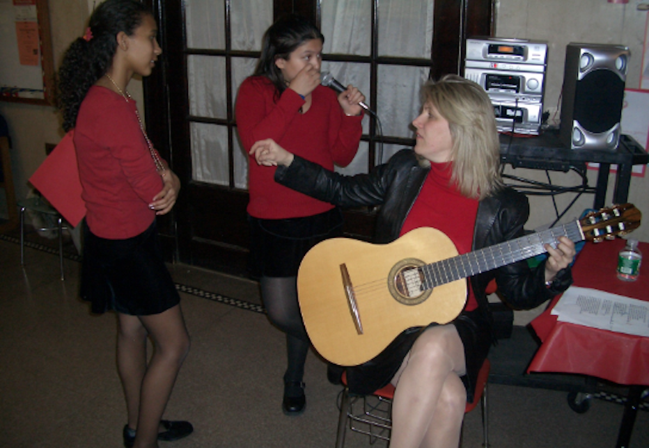 Two students performing an Italian Song in Tarrytowns